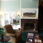 Hotel Coolidge lobby and fireplace